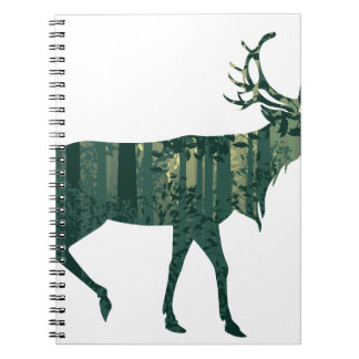 Deer and Abstract Forest Landscape 2 Notebook