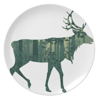 Deer and Abstract Forest Landscape 2 Party Plate