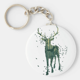 Deer and Abstract Forest Landscape Basic Round Button Keychain
