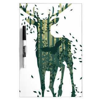Deer and Abstract Forest Landscape Dry Erase Board