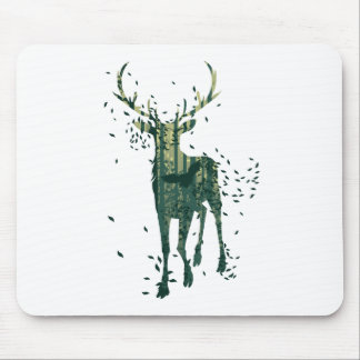 Deer and Abstract Forest Landscape Mouse Pad