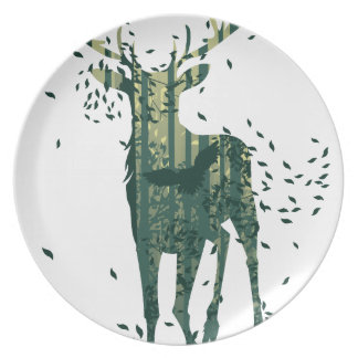 Deer and Abstract Forest Landscape Plates