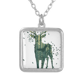 Deer and Abstract Forest Landscape Silver Plated Necklace