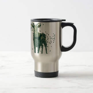 Deer and Abstract Forest Landscape Travel Mug