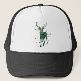 Deer and Abstract Forest Landscape Trucker Hat