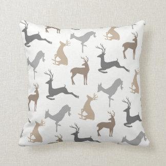 Deer and Buck Pattern in Brown Neutrals Throw Pillow