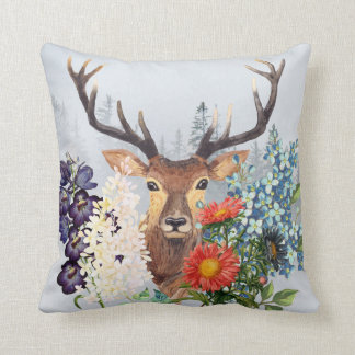Deer and Flowers Pillow