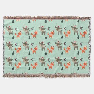 Deer And Fox In Santa Hats Whimsical Christmas Throw Blanket