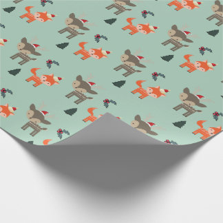 Deer And Fox In Santa Hats Whimsical Christmas Wrapping Paper