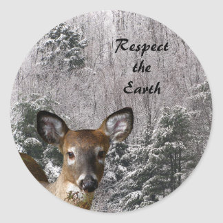 Deer and Frosty Hills Earth Day Classic Round Sticker