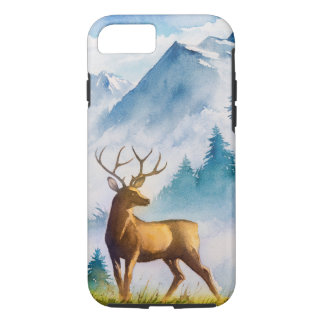 Deer and Mountain in Watercolor iPhone 7 Case