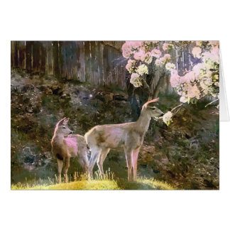 Deer and Pear Blossoms Card