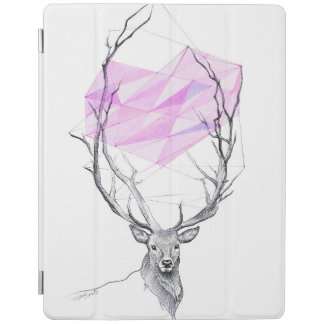 Deer and pink geometric heart drawing iPad cover