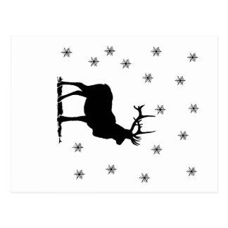 Deer and snowflakes postcard