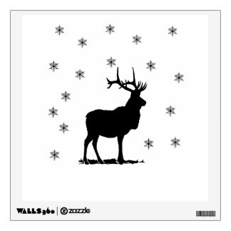 Deer and snowflakes wall decal