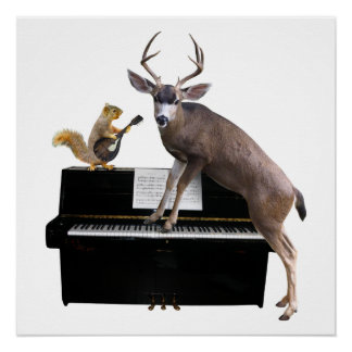 Deer and Squirrel at the Piano Poster
