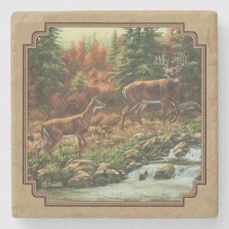 Deer and Stream Waterfall Tan Stone Coaster