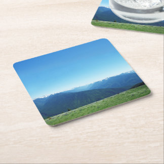Deer and the Olympics Square Paper Coaster
