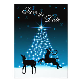 """Deer and Tree of Lights Snowy Night Save the Date 4.5"""" X 6.25"""" Invitation Card"""