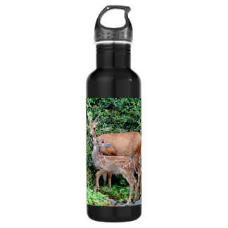 Deer and Twin Fawns Animal Family 710 Ml Water Bottle