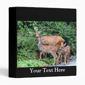 Deer and Twin Fawns Animal Family 3 Ring Binder