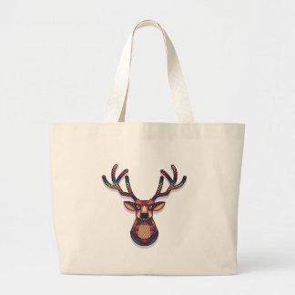 deer animal with horns large tote bag