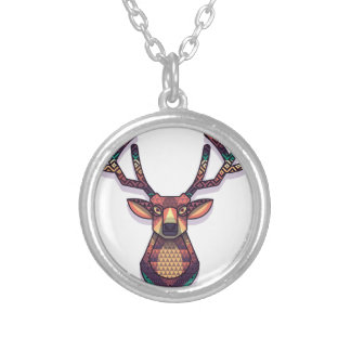 deer animal with horns silver plated necklace