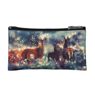 Deer animals in winter - Snow Landscape Makeup Bag