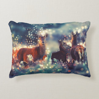 Deer animals in winters - deer. Kind, art Accent Pillow