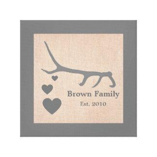 Deer Antler Country Family Name Burlap Print