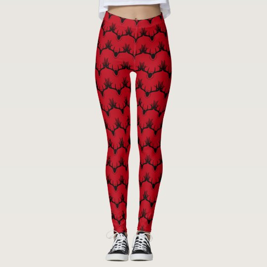Deer Antler Red Leggings