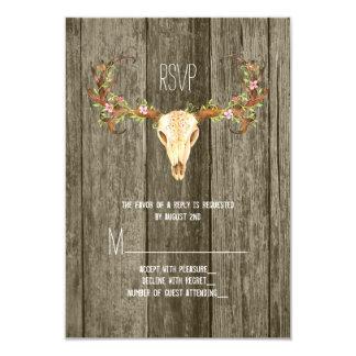 Deer Antler Rustic Wood Southwestern Wedding RSVP Card