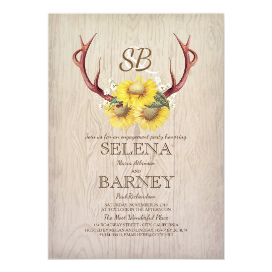 Deer Antlers and Sunflower Rustic Engagement Party Card