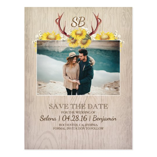 Deer Antlers and Sunflowers Photo Save the Date Postcard