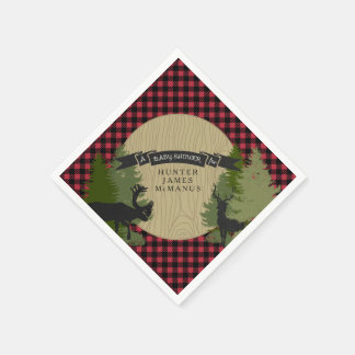 Deer Antlers Lumberjack Plaid Baby Boy Shower Disposable Napkin