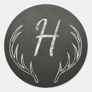 Deer Antlers Monogram Black and White Chalkboard Classic Round Sticker