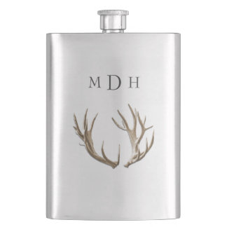 Deer Antlers Monogrammed Flask For Him