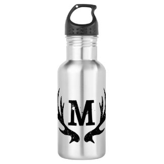 Deer antlers monogrammed metallic water bottle
