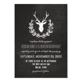 Deer Antlers Rustic Chalkboard Wedding Card
