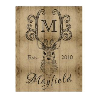 Deer Antlers Rustic Wood Monogram Family Plaque Wood Wall Art