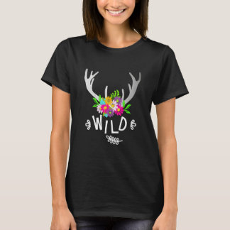 Deer Antlers Wild Flowery Boho Super Cute Girly T-Shirt