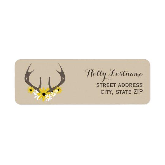 Deer Antlers + Wildflowers Address Label
