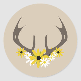 Deer Antlers + Wildflowers Sticker
