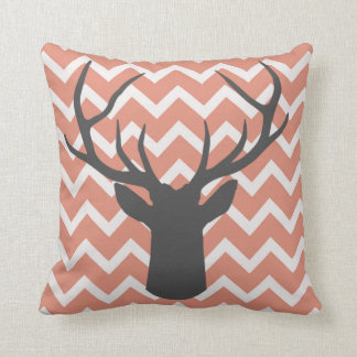 Deer Antlers with salmon pink chevron motifs Throw Pillow