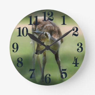 Deer are so sweet round clock