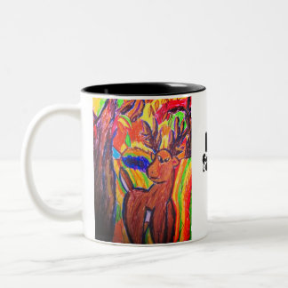 deer art Two-Tone coffee mug