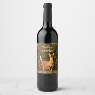 Deer at Sunrise Wildlife Wine Label
