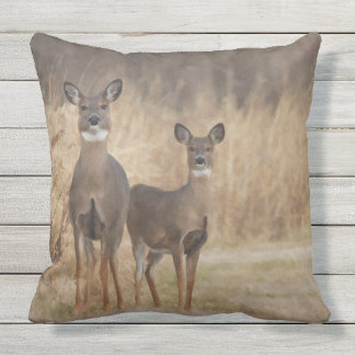 Deer at the cross road in an autumn setting throw pillow