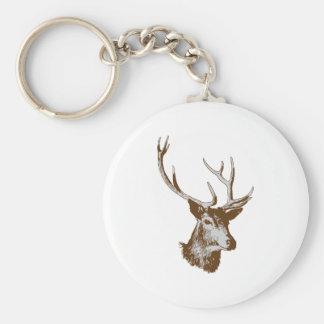 Deer Basic Round Button Keychain