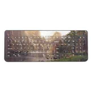 Deer Bierstadt Sierra Light Lake Wireless Keyboard